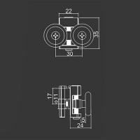 Obere Doppelrolle M10 für duschkabinen