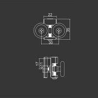 Untere Doppelrolle M18 für duschkabinen